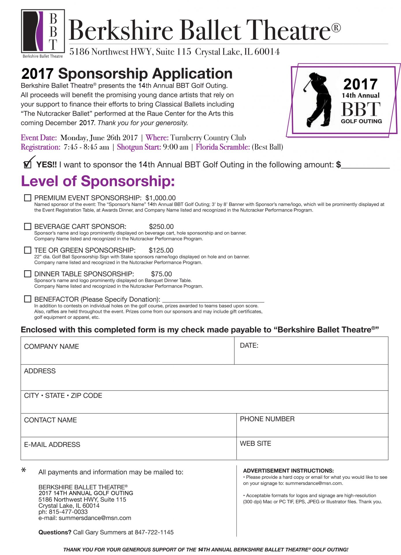 2017 bbt 14th annual golf outing sponsorship form summers april 13 2017 thecheapjerseys Choice Image