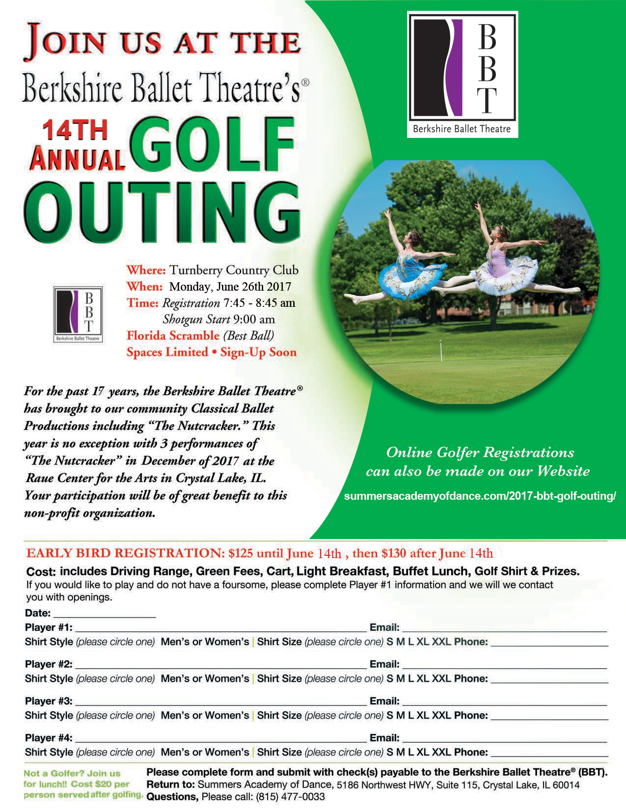 2017bbt golf outing registration form summers academy of dance